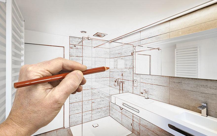 court de la rénovation d'une salle de bain